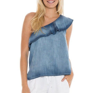 New Anthro Cloth&Stone Chambray 1Shoulder Top Sz L